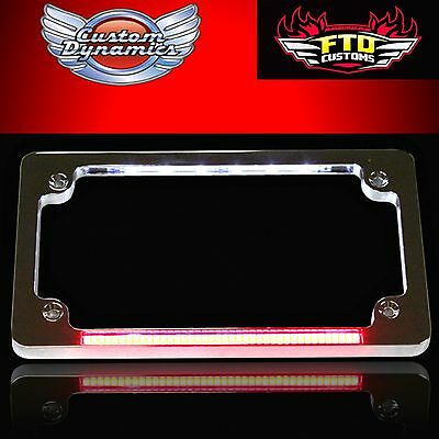 Custom Dynamics FLAT LICENSE PLATE FRAME RED RUN-BRAKE-LED's (CHROME) TF02-C