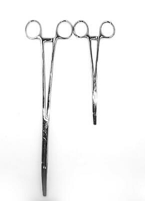 "2pc Fishing Set 6"" + 12"" Curved Hemostat Forceps Locking Clamps Stainless"