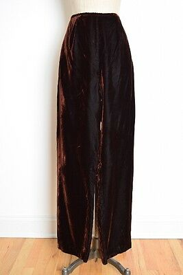 vintage 90s pants brown velvet high waisted wide leg trousers pants M