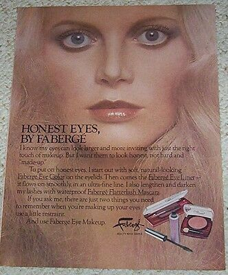 1977 advertising page - Faberge Cosmetics eye makeup PRETTY blonde GIRL print AD