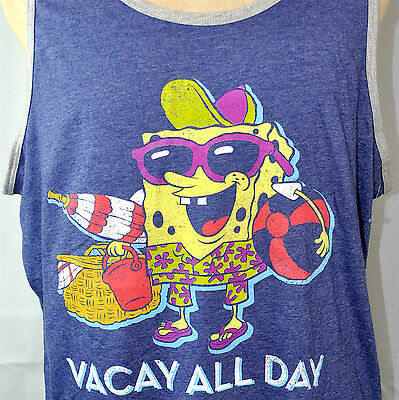 6389d278af Spongebob Squarepants Vacay All Day Retro Mens Beach Tank Top 2XL XXL New  Nickel