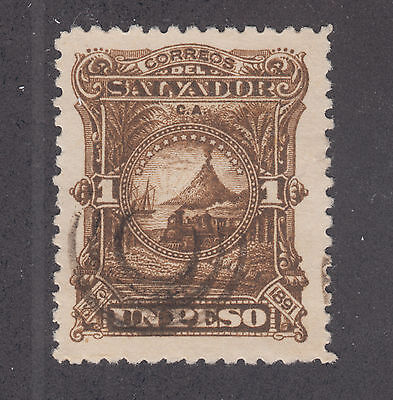 Salvador Sc 56 used 1891 1p dark brown Volcano, VF