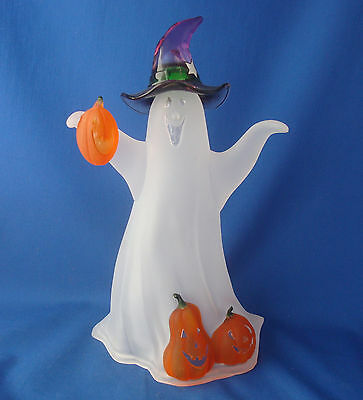 "11¼"" Halloween ghost figure frosted acrylic transparent jack o lantern pumpkin"