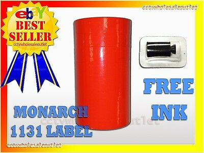 Fluorescent Red Labels For Monarch 1131 Pricing Gun 1 Sleeve=8Rolls