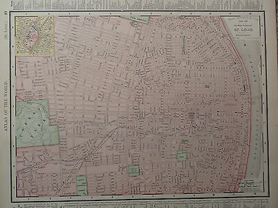Vintage 1890 St Louis Map Old Antique Original Atlas Map