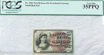 10c US Fractional Currency Fourth Issue Fr.1261 Graded by PCGS 35PPQ Nice Note