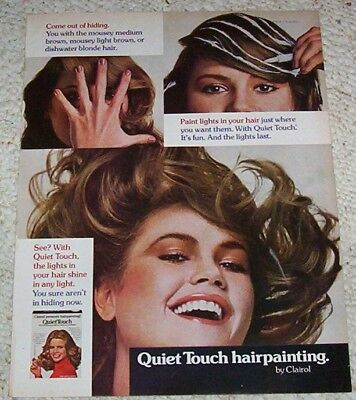 1977 vintage ad page - Clairol Quiet Touch hair hairpainting color GIRL print AD