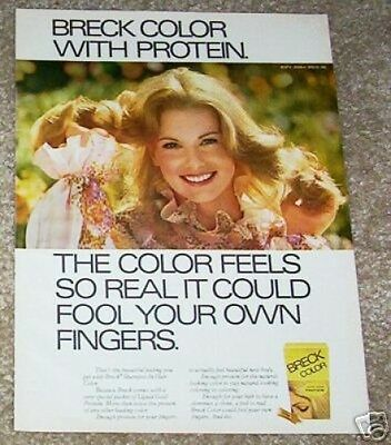 1975 ad page - Breck shampoo-in Hair Color -pretty blonde girl- PAPER vintage AD