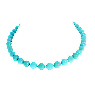 AAA TURQUOISE NECKLACE Campitos Beads Round 9.5-12mm*NewWorldGems