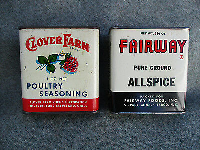 Old Vintage Clover Farm Poultry Seasoning & Fairway Allspice Spice Tin Can