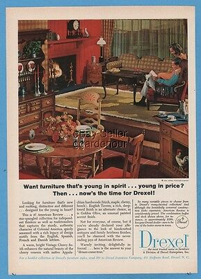 1965 Drexel American Review Furniture MID-POINT CONTEMPORARY living room ad