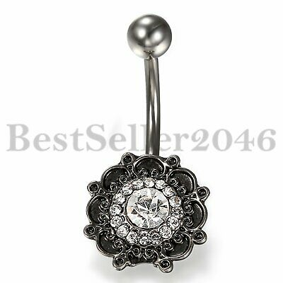 BEAUTIFUL VINTAGE CAGED CZ STAR BELLY NAVEL RING DANGLE BUTTON PIERCING B674