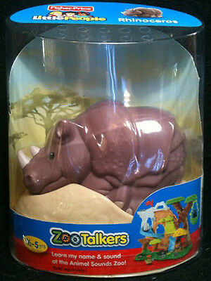 Fisher-Price Little People ZOO TALKERS RHINOCEROS Interactive sounds NEW
