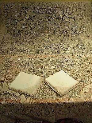 Antique~Handmade Italian Reticella Needlelace Tablecloth+ 12 Naps B15