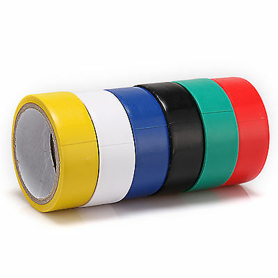 Lot of 6 Roll each Color Electrical PVC Insulating Tape 17mm (W) x 300mm (L)