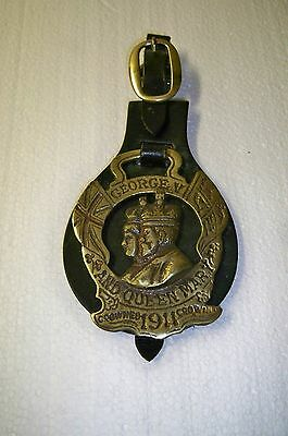 English Horse Tack Leather & Brass Harness Equestrian Pageantry Medallion
