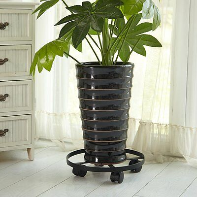 Amagabeli Garden Metal Iron Round Flower Pots Planter Stand Roller Dollies Rack