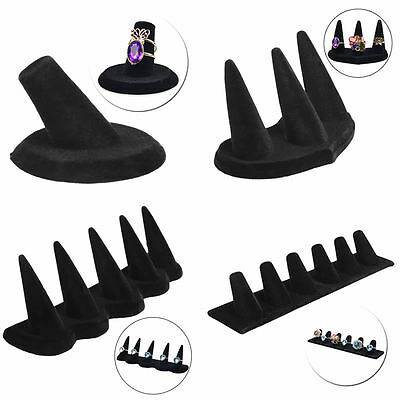 1/3/5/6 Finger Black Velvet Jewelry Ring Display Stand Holder Showcase Organizer