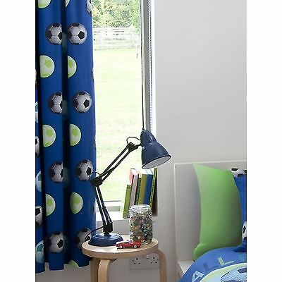 "Catherine Lansfield Lined Football Curtains Blue Kids Bedroom 66"" X 72"""