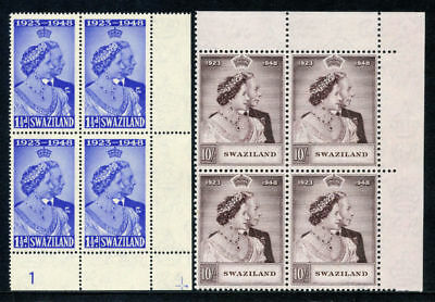 Swaziland 1948 KGVI Silver Wedding set complete in blocks superb MNH. SG 46-47.