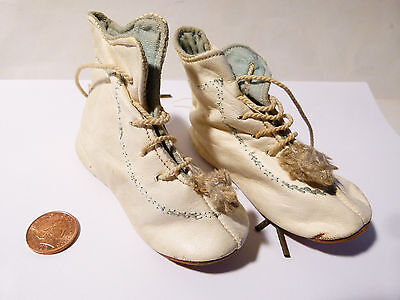 Antique Victorian Edwardian Leather Baby's Boots with Leather Soles Booties Doll