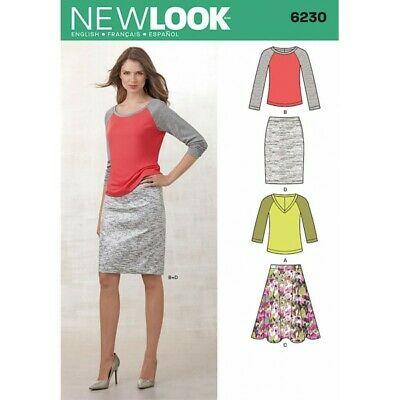 New Look Misses' Knit Top and Full or Pencil Skirt Sewing Pattern 6230