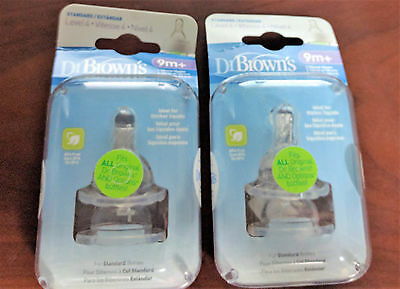 Lot of 2 New Packages Dr Brown's Level 4 / 9m Silicone Bottle Nipples (4)