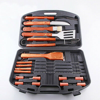 MIL 18 Piece Stainless Steel Barbecue BBQ Grilling Tools Set w/ Storage Case New