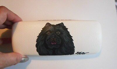 Black Chow Chow Dog Hand Painted Eyeglass case faux Leather