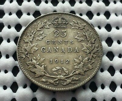 1912 ❀ Nice Detail ❀ Canada Silver Twenty Five Cent Coin lot