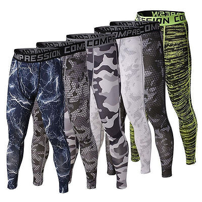 US Fast Men Camouflage Long Pants Compression Running Workout Tights Base Layer