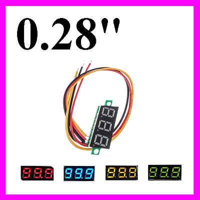 "0.28"" Mini DC Digital Panel Voltmeter Panel Mount LED Voltage Volt Meter 0-100V"