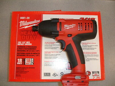 """Milwaukee V18 Lithium-Ion 18V 1/4"""" Hex Impact Driver Tool Only 0881-20 NEW"""