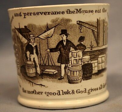 Vintage Staffordshire Child Mug Cup Franklin Poor Richard Sayings Transfer Ware
