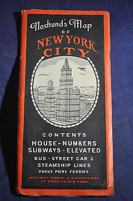 Ca 1935 *COLOR* Nostrands Map of New York City