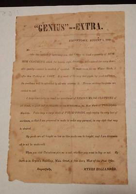 0432----1860 extremely rare Myers Hollander broadside -- Uniontown PA