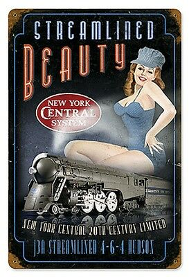 """12"""" X 18"""" - Streamlined Beauty -NYC - 20th Century- Pin Up - 24 Gauge Metal Sign"""