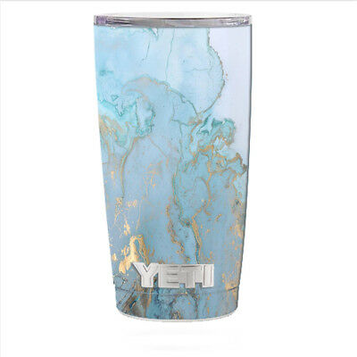 26ff18a40d8 Skin Decal for Yeti 20 oz Rambler Tumbler Can Cup / Teal Blue Gold White  Marble