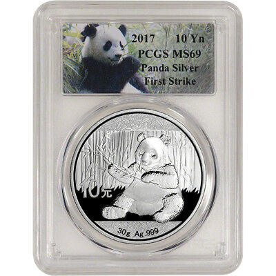 2017 China Silver Panda (30 g) 10 Yuan - PCGS MS69 - First Strike - Panda Label