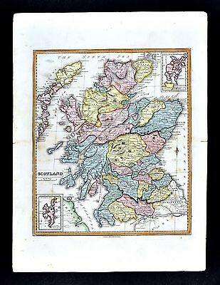 1839 Allan Bell Atlas Map - Scotland Edinburgh Aberdeen Glasgow Inverness Dunbar