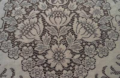 Vintage Quaker Lace Dinner Tablecloth Ecru Floral Scrolls Picots 88""