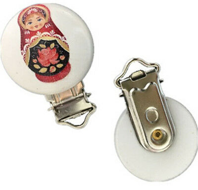 DIY 2P Russian dolls Pattern  White Wood Baby Pacifier Clips Metal Holders 4.6cm