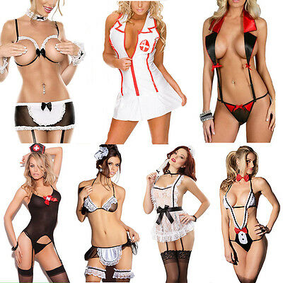 Women's Sexy-Lingerie Nightwear G-string Dress Babydoll Sleepwear Lace Underwear