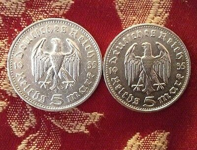 Nazi Germany 1934, 5 Mark Coins x2, 90% Silver