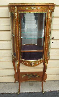 53766  French Vitrine Hand Paiinted Bow Glass Curio Cabinet