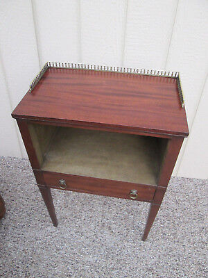 50150 Antique Mahogany Nightstand With Brass Gallery