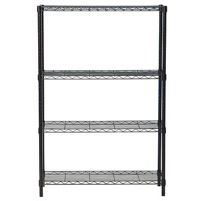 Black/Chrome 4-Tier Storage Rack Organizer Kitchen Shelving Steel Wire Shelves