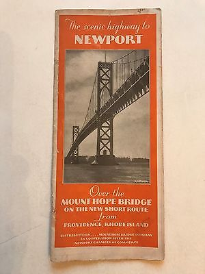 Providence Rhode Island to Newport Rhode Island Vintage 1930's map