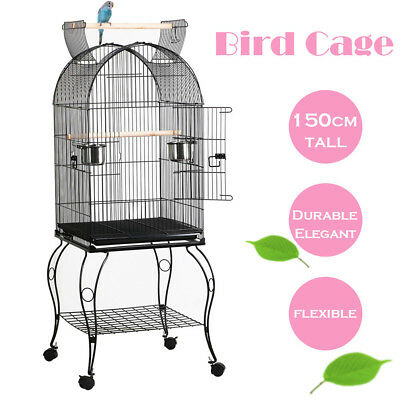 Large Metal Bird Cage Parrot Canary Budgie Aviary With Wheels 59 x 59 x 150 cm