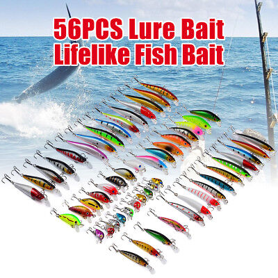 56pcs/set Assorted Fishing Lures Minnow Lure Crank Bait Mixed Tackle Multi Model